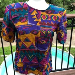 Vintage 80s Silk Purple Multicolor Blouse Small